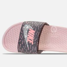 Swarovski Nike Slides - Bling Nike Sandals - Bedazzled Nikes - Nike Benassi JDI Slides - Rose & Grey - All Sizes - Sparkly Nike Slides by on Etsy Nike Benassi Slides, Basket Style, Cute Slides, Pool Slides, Nike Slippers, Baskets, Nike Sandals, Glitter Sandals, Bling Shoes