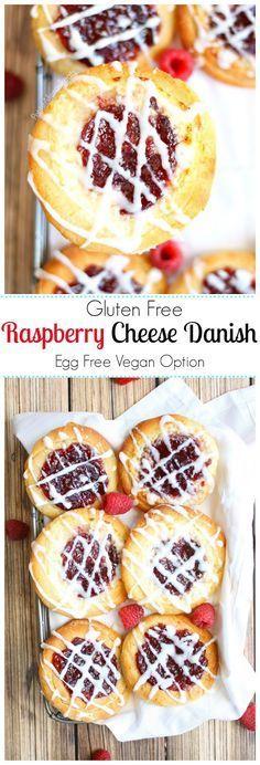Raspberry Cheese Danish (gluten free egg free Vegan option) Delicious raspberry filled mascarpone cheese pastries. Use tofutti or daiya cheese spreads