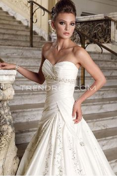 Sweetheart A-Line Wedding Dress with Fitted Bodice, Informal Wedding Dresses - Trendress.com