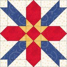 Dream Castle Quilts  free blocks 2010 - Tuscan star Barn Quilt Designs, Barn Quilt Patterns, Quilting Designs, Star Quilt Blocks, Star Quilts, Quilt Of Valor, Patriotic Quilts, American Quilt, Quilt Tutorials