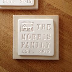Items similar to personalized FAMILY or HOUSE text tile wall plaque in ceramic and wood by Paloma's Nest - house warming, wedding, or baby shower gift on Etsy House Plaques, Wall Plaques, Thing 1, Newlywed Gifts, Personalized Christmas Gifts, Mom Birthday Gift, Hanging Signs, Custom Homes, House Warming