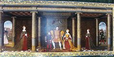 The Family of Henry VIII, c. 1543-1547. Unknown artist, after Holbein. Hampton Court Palace. © Meg McGath. Portrait of King Henry and his heirs. The painting was done while Queen Kateryn Parr was queen. Notice that Queen Jane Seymour and her son Edward are the main focus.