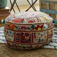 Found it at Wayfair - Pouf Ottoman Round Ottoman, Leather Pouf, Patchwork Patterns, Furniture Sale, Furniture Decor, Bohemian Furniture, Furniture Buyers, Studio Furniture, Modern Furniture
