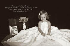 Children Photography, Daughter wearing mother's wedding dress, little girl photo ideas