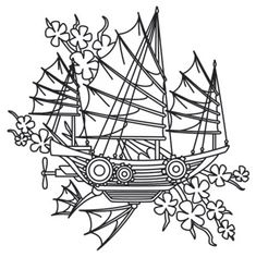 Delicate cherry blossoms frame the angular sails of this steampunk ship. Downloads as a PDF. Use pattern transfer paper to trace design for hand-stitching.