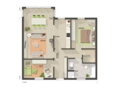Massivhaus BUNGALOW 78 modern mit Walmdach - | HausbauDirekt.de Town Country Haus, Floor Plans, House, House Construction Plan, Modern Bungalow, Home, Homes, Floor Plan Drawing, Houses