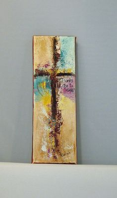 "Abstract Cross original  ""Thanks Be To God"" 3"" x 9"" painting by Florinda"