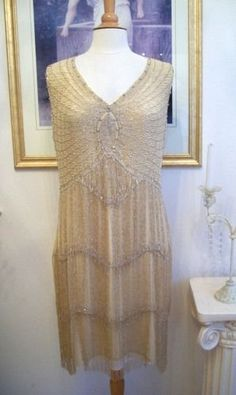 1920's Style GREAT GATSBY Nude/Silver BEADED FLAPPER Dress-XS,M,L,or 2X