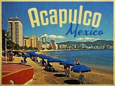 Antiguo cartel promocional de #Acapulco, destino paradisíaco del #PacificoMexicano que desde hace años recibe una gran cantidad de afluentes de turistas.