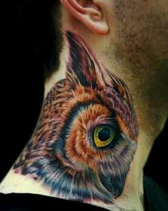 32 Owl Head Tattoo On Men Side Neck
