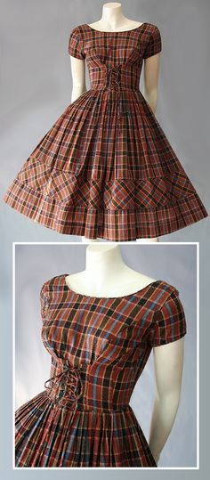 1950s plaid dress has tiny pleats around waist.
