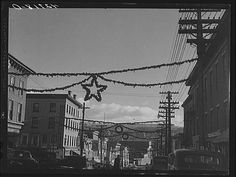 Main St. Derby, Connecticut - decorated for Christmas - December 1940
