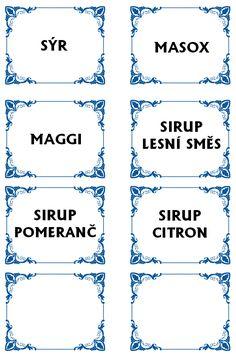 Etikety na potraviny Maggi, Diy And Crafts, Math Equations, Prints, House, Paper Art, Tags, Creative, Home
