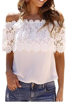 This White Lace Spliced Off Shoulder Chiffon Top is a must have for the Summer! With a sexy lace design and revealing off-the-shoulder neckline, this top is exactly what your night-out wardrobe is mis