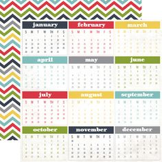 Echo Park - My Life Collection - 12 x 12 Double Sided Paper - Calendar Months