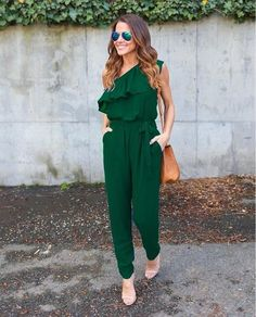 4991b6fe09 Jumpsuits Summer Ruffles Chiffon Overalls Sexy Casual One Shoulder Long Playsuits  Rompers Women Jumpsuit Plus Size Gv608