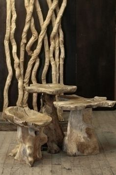 "sustainably sourced wood created these artistic stools made by NY company ""From the Source NY"" http://greenstreamline.com/blog/post/sustainable_furniture"