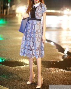 甘い丸花レースの襟付きミモレ丈半袖ワンピース - 韓国プチプラパーティードレス通販『TENDERLY DRESS』結婚式二次会お呼ばれ