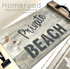 Make any wood look weather washed with this fun aging wood stain. See how we used it on a DIY rustic wooden beach tray. Beach Stencils, Sign Stencils, Stencil Diy, Rustic Garden Decor, Rustic Backyard, Backyard Ideas, Sloped Backyard, Decorative Garden Fencing, Serving Tray Wood