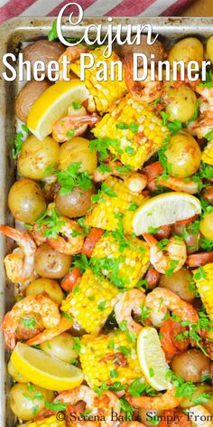 Easy Cajun Shrimp Sausage Sheet Pan Dinner with corn and little potatoes is a favorite easy dinner recipes great for a crowd from Serena Bakes Simply From Scratch. Cajun Shrimp Recipes, Easy Chicken Dinner Recipes, Seafood Recipes, Cajun Food, Oven Recipes, Quick Recipes, Amazing Recipes, Dinner For Crowd, Easy Cheap Dinner Recipes