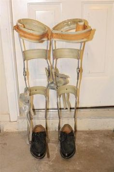 Pair of Vintage Polio Leg Braces Device w/ Black Shoes Medical Steampunk Oddity