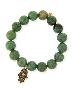 10mm Jade Beaded Bracelet with 14k Gold Diamond Hamsa Charm, LIGHT GREEN - Sydney Evan