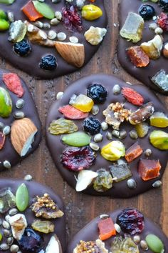 Dark Chocolate Super-Bites - Made with heart healthy extra dark chocolate, and lots of colorful little super foods (dried fruit, nuts, and seeds)...