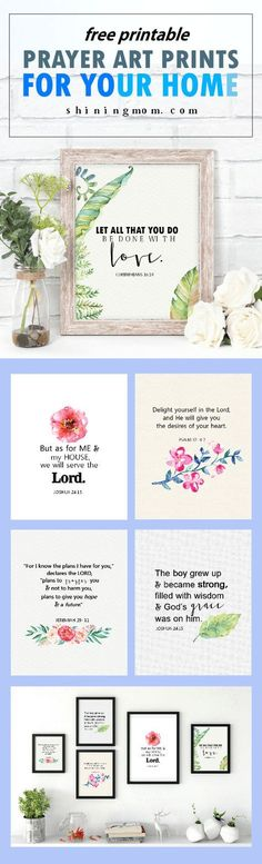 Decorate your home with prayers! Get these free Bible Verses Art Printables for Your Home! The wall art pieces are so meaningful!