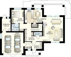Verona IV projekt - Parter 107.28 m² + garaż 32.94 m² Modern Bungalow House, House Entrance, Dream House Plans, Verona, Ground Floor, Home Projects, Planer, Sweet Home, New Homes