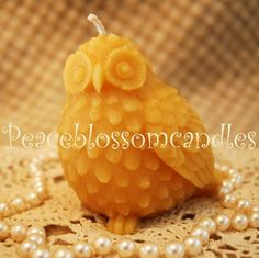 Owl shaped bees wax candle