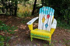 "David J. Hansel the Artist: Adirondack Chair & Small Table ""The Bird House Trio""  250.00"