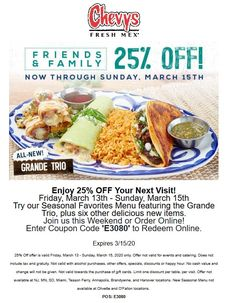 💰 off at Chevys Fresh Mex restaurants Chevys coupons and promo codes from The Coupons App. Couponing 101, Restaurant Offers, Shopping Coupons, Plastic Surgery, Chevy, Restaurants, March, Lovers, App