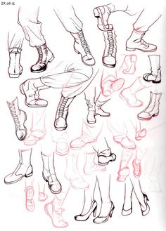 Chart showing how to draw different types of boots, plus women's high heels.