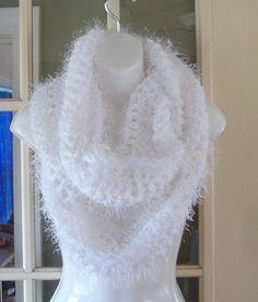 Super soft White fuzzy cowl infinity scarf by MatsonDesignStudio, $30.00