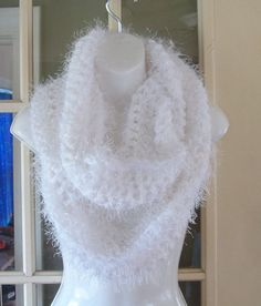Super soft White fuzzy cowl infinity scarf by MatsonDesignStudio, $30.00