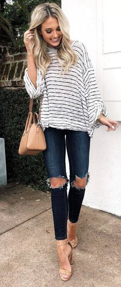 how to wear a pair of ripped jeans : stripped top + nude bag + heels
