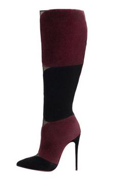 Christian Louboutin Burgundy  Black High Heeled Boots Fall 2014 #CL #Louboutins #Shoes