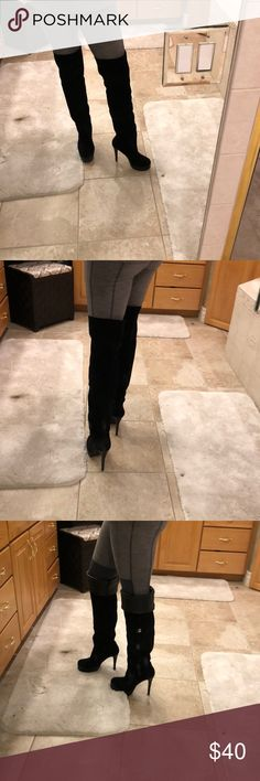 Bcbg thigh high boots Can't go wrong with these.  Thigh high boots super sexy and flattering.  Tall heel and platform. They are used so please look at the pics of the heels.  Thanks BCBGeneration Shoes Over the Knee Boots