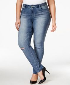 Nanette by Nanette Lepore Plus Size Caitlyn Ripped Cropped Tyler Wash Jeans, Only at Macy's