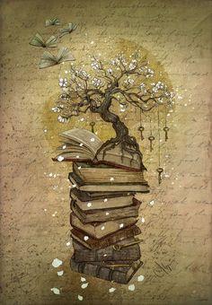 """Non ho trovato nessun significato specifico per i tatuaggi che rappresentano una fila di libri che si trasformano pian piano in farfalle con un albero in cima e delle chiavi penzolanti dai suoi rami, per cui, dirò cosa rappresenta per me. I libri, l'albero e le chiavi, rappresentano la storia, la cultura, la conoscenza, la consapevolezza, e il fatto che essi spicchino il volo rappresenta la libertà. In parole povere,la cultura ci fa  essere liberi."""""""