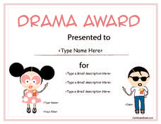 Education certificate drama award template for children cert free printable drama awards for kids drama award for children pre k 8th grade printables template yelopaper Choice Image