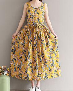 Retro Dresses Women loose fitting over plus size retro leaves dress linen long maxi tunic Boho Summer Dresses, Simple Dresses, Casual Dresses, Girls Dresses, Dress Summer, Casual Wear, Retro Fashion, Vintage Fashion, Hijab Stile