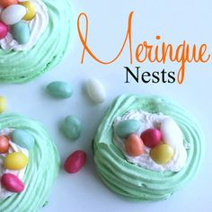 Meringue Nests  ♥♥ are a delicate dessert that can be made for upcoming Easter and everybody will be delighted. Crunchy on the outside and soft inside these nests completely melt in your mouth. Filled with whipped cream or your favorite filling, topped with either egg shape candies or fruits makes them an impressive dessert for any occasion.