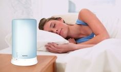 Humidifier moisturizes air and can diffuse a pleasant scent to create a soothing atmosphere