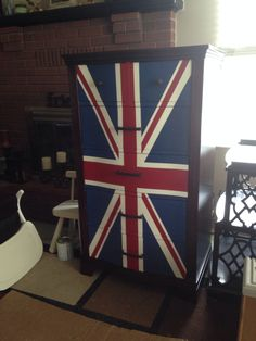 Chest of drawers with Union Flag on front with Annie Sloan Old White, Emperor's Silk, and Napoleonic Blue.   https://www.facebook.com/JensFurnitureRehab