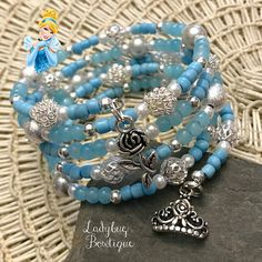 Cinderella-inspired Wraparound Bracelet Memory Wire Girl or Diy Bracelets And Anklets, Diy Bracelets Easy, Cute Bracelets, Memory Wire Bracelets, Fork Bracelet, Beaded Cuff Bracelet, Beaded Jewelry, Beaded Necklaces, Kids Jewelry
