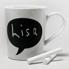 One of my favorite discoveries at WorldMarket.com: Chalk Talk Mug.  Love this idea!
