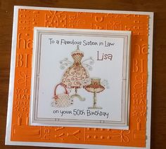 Handmade Personalised Birthday Card Dress Hat Any Age Mother Sister in Law 65th