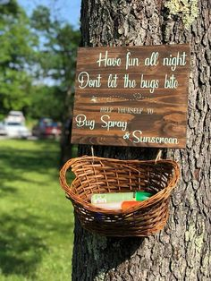 16 x 10 Don't Let the Bugs Bite Wedding Campground Wedding, Camp Wedding, Outdoor Wedding Reception, Our Wedding, Outdoor Rustic Wedding Ideas, Rustic Wedding Signs, Outdoor Wedding Lights, Country Wedding Foods, Wedding Bonfire