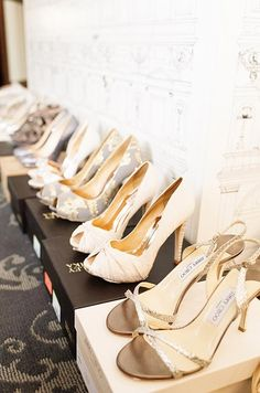 Beautiful designer shoes from Jimmy Choo and Badgley Mischka offer brides endless options for completing their wedding day look.